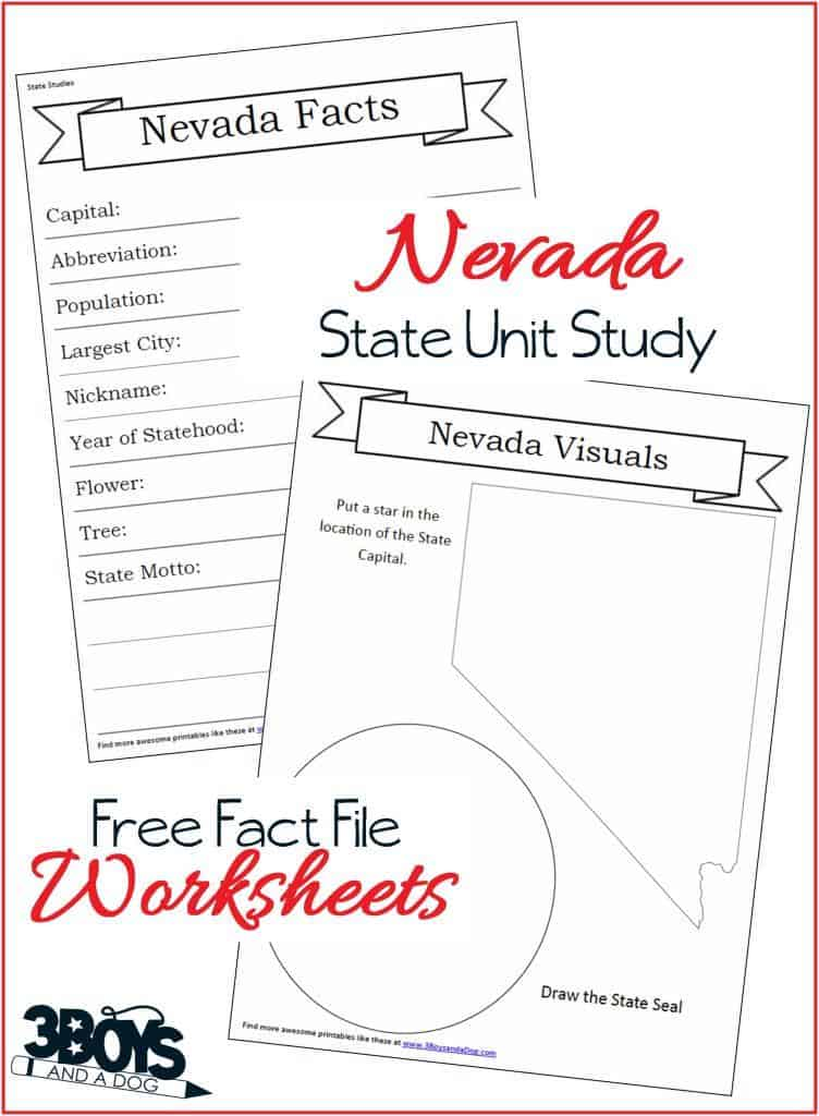 Free Nevada State Fact File Worksheets