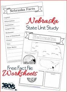 Nebraska Fact File Worksheets