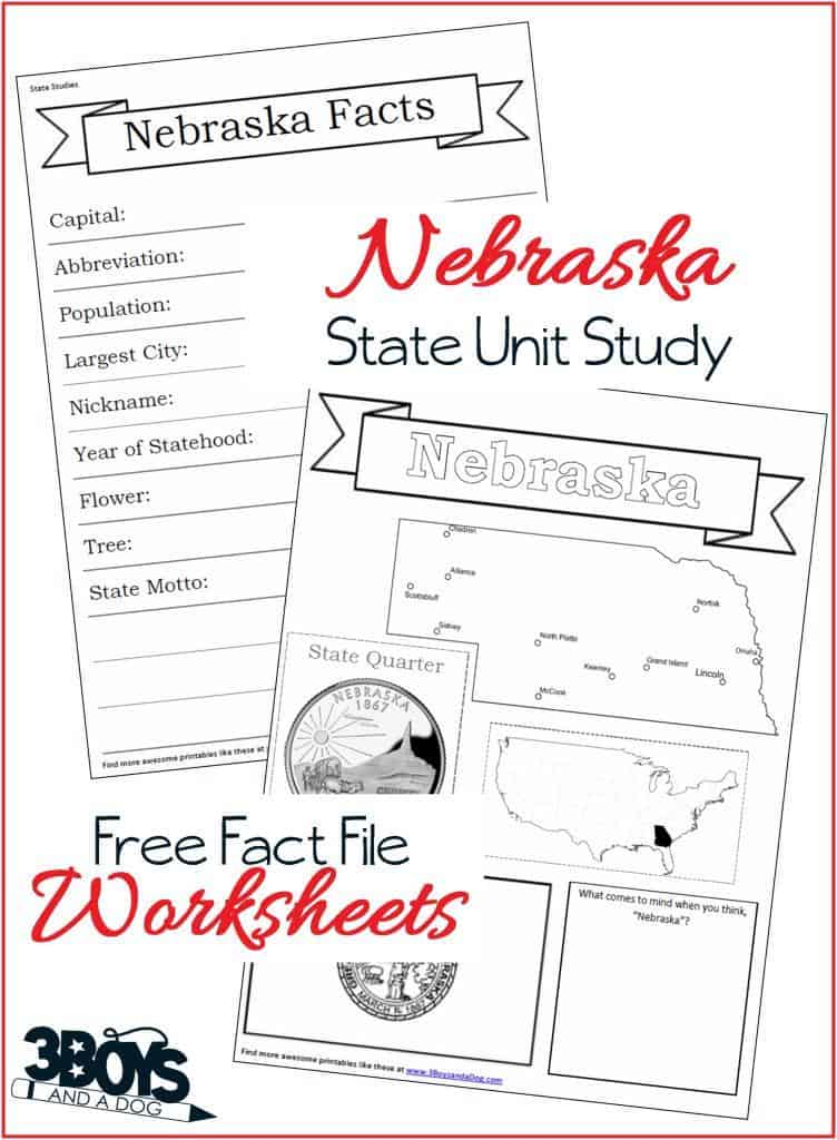 Nebraska Fact File Worksheets