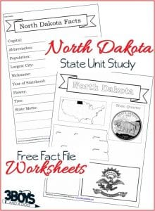 North Dakota State Fact File Worksheets
