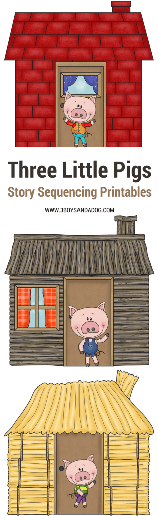 These 3 Little Pigs Pictures to Sequence are fun and educational. Paired with the classic 3 Little Pigs Story, these free printables will help your preschooler understand sequencing.