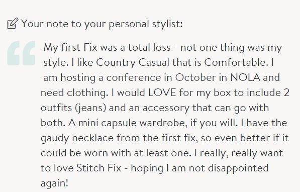 Note to my Stitch Fix Stylist - did she listen or no?