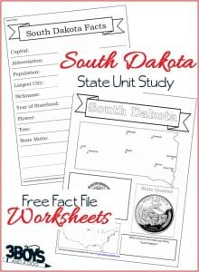 South Dakota State Fact File Worksheets