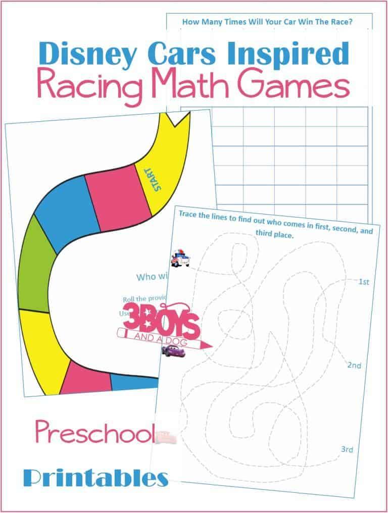 Disney Cars Inspired Math Games for Preschool