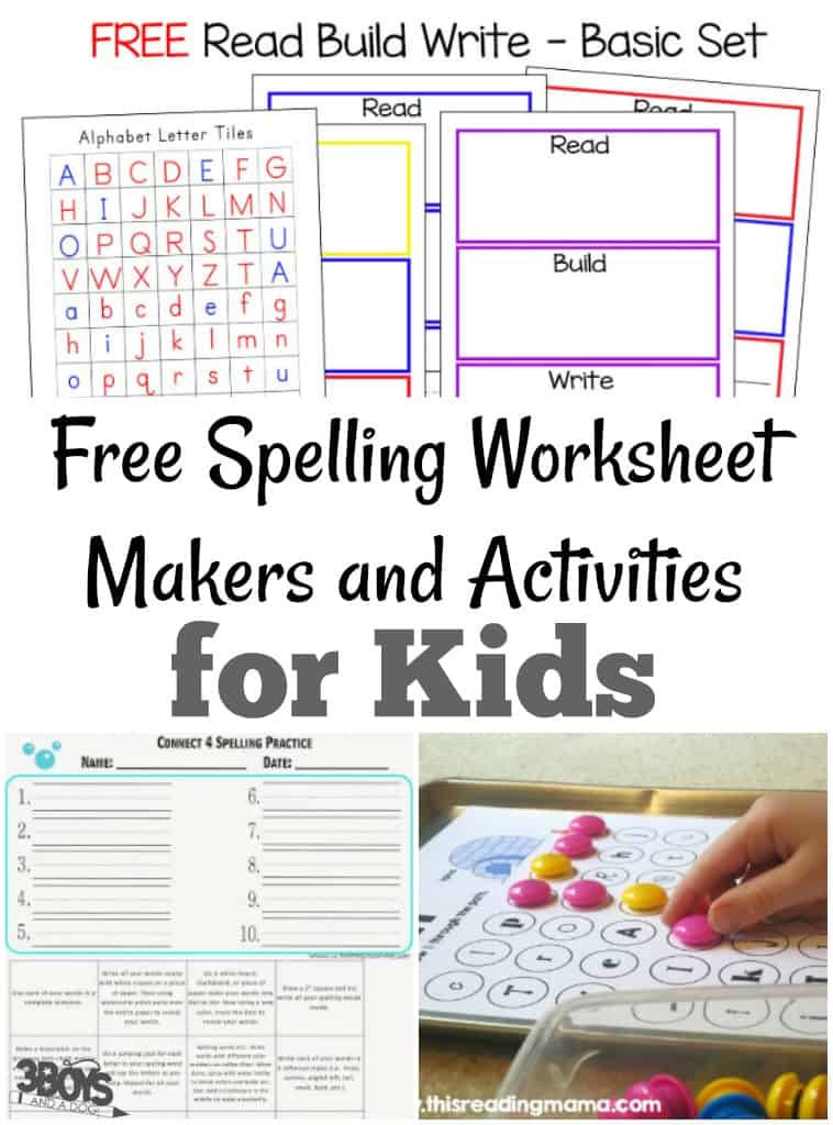 Free Spelling Worksheet Makers and Activities – 3 Boys and a Dog