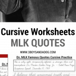 Cursive Worksheets MLK Quotes for grades 3-5. perfect for Black History Month