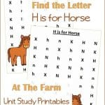 Farm Animals Find the Letter H is for Horse