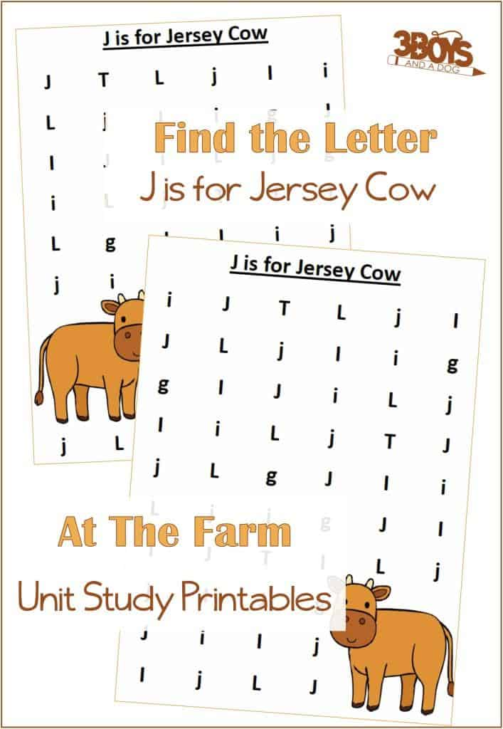 Find the Letter J is for Jersey Cow At the Farm Unit Study