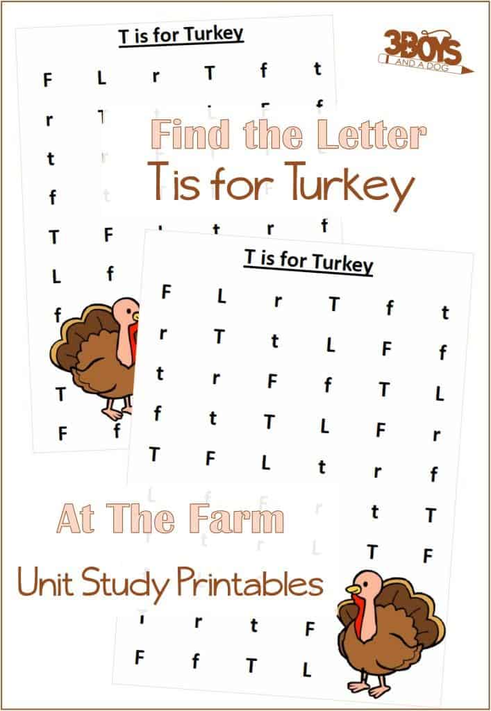 Find the Letter T is for Turkey At the Farm Unit Study