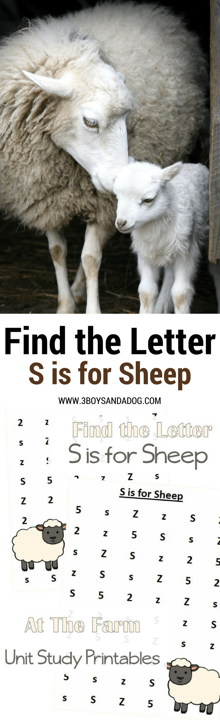 These Find the Letter Printables: S is for Sheep will help your preschool and early-elementary aged children work on recognizing the letter S among many other letters of the alphabet. Great for fine motor and alphabet recognition.
