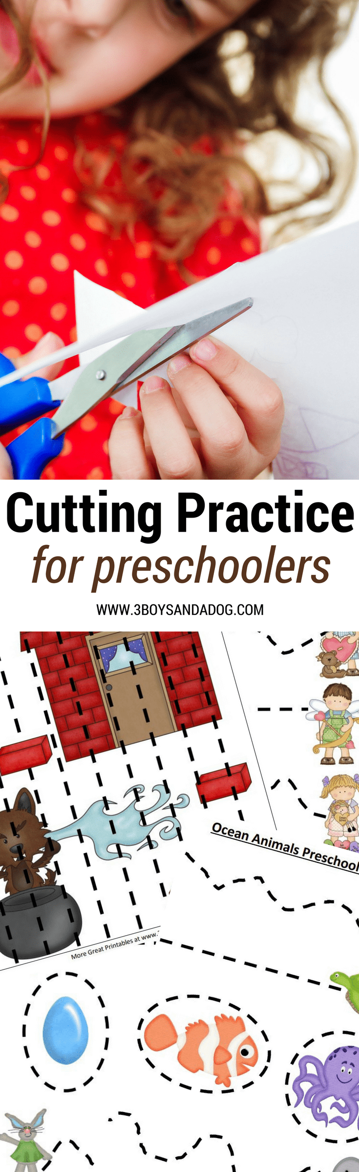 These Printable Cutting Worksheets for Preschoolers will help your Preschool and Kindergartners improve dexterity and fine motor skills.  There are many different free preschool cutting practice worksheets here.  This is the ultimate list of Printable Cutting Worksheets for Preschoolers.