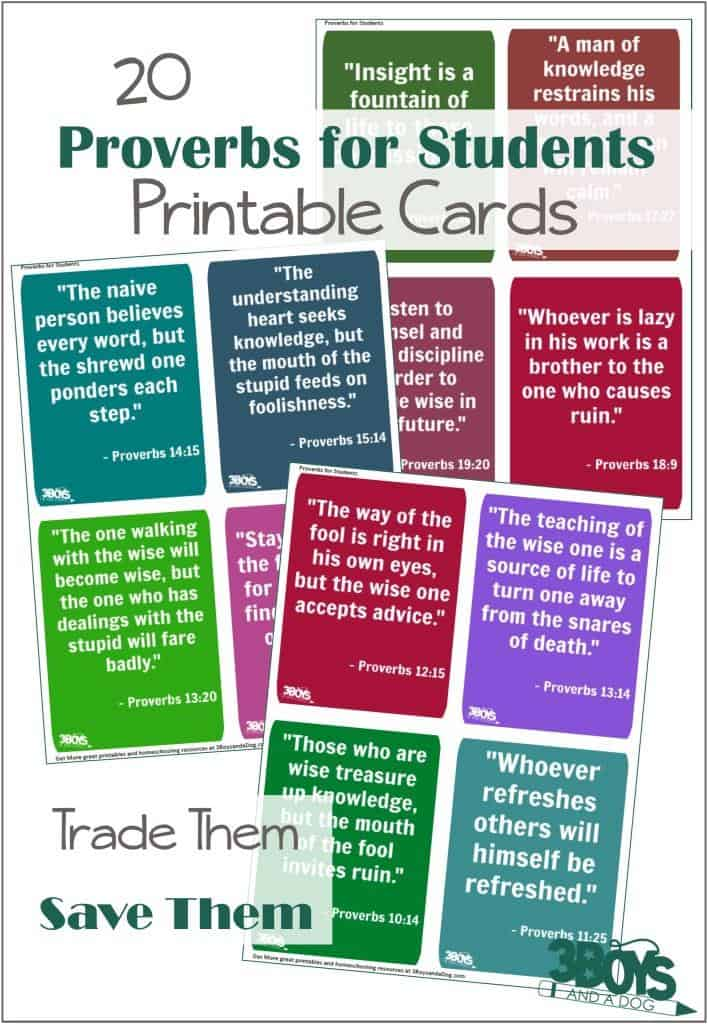 Printable Proverbs for Students Cards