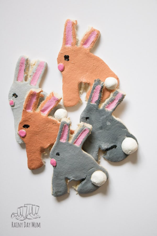 Easy Easter Craft to accompany the Nursery Rhyme 5 Little Easter Bunnies. Create 5 Little Easter Bunny Salt Dough Decorations and sing along.