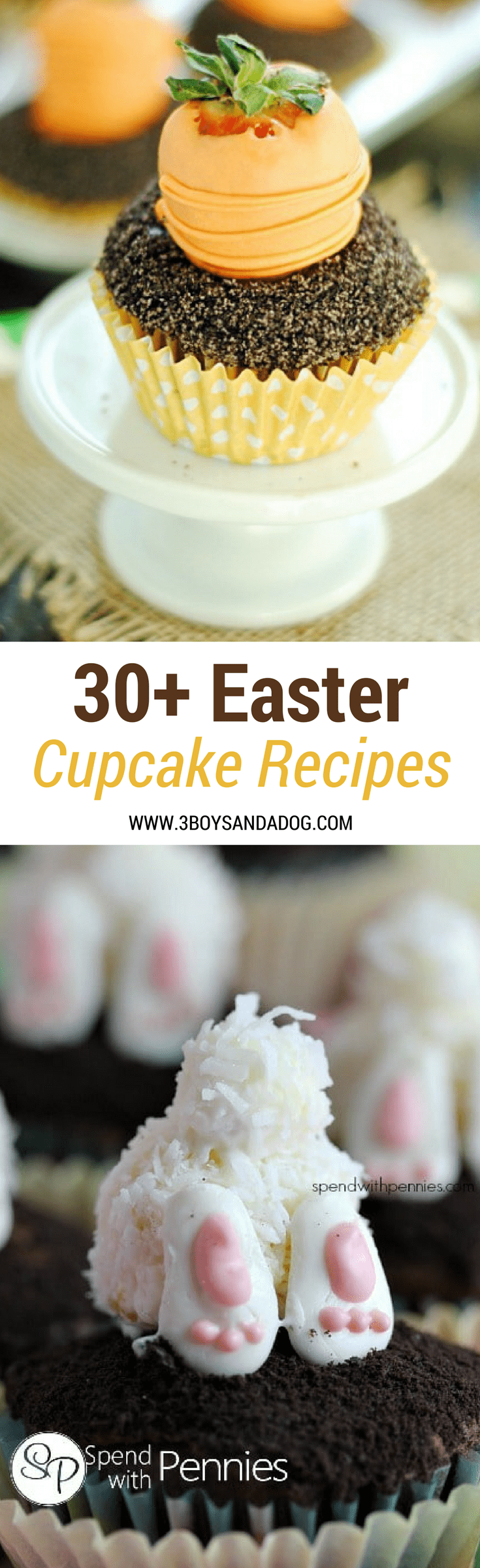 This Easter, go mini!  With this Ultimate List of Easter Cupcake Ideas, you should be able to bring dessert to every Easter function with no overlap!  From Easter Baskets to Carrot Gardens, from Bunny Butts to Pastel Cupcakes, this list of Easter Cupcake Recipes is all you will need this Easter! #EasterRecipes #EasterDessert #Cupcakes #recipeoftheday