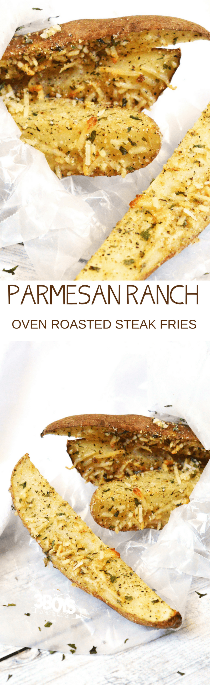Mix up dinner tonight with this easy to make and simply delicious Parmesan Steak Fries with Ranch recipe! These Parmesan Steak Fries with Ranch are delicious and fairly healthy when roasted in the oven.