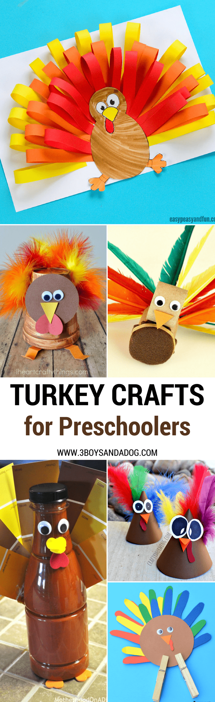Head down to the farm with these easy turkey crafts and activities for kids to make! People tend to think about turkeys around autumn, but turkeys are a common animal on farms all year long!  So, educate yourself and your children with these 18 Turkey Crafts and Activities for Kids!