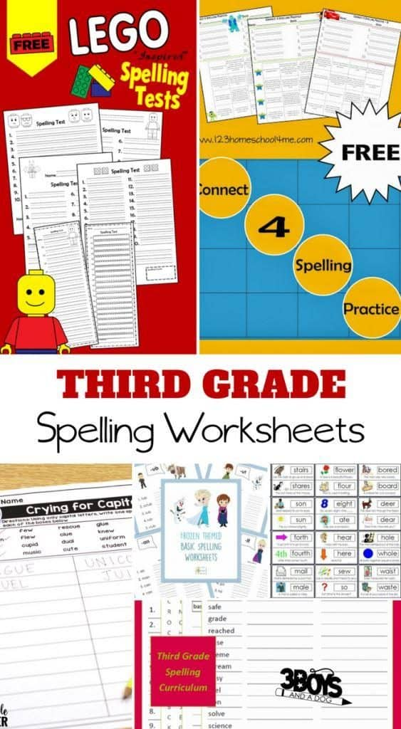 3rd Grade Spelling Worksheets for Kids - 3 Boys and a Dog
