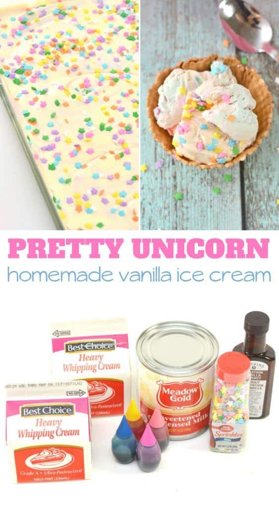 Pretty Unicorn homemade vanilla ice cream