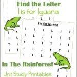 Find the Letter I is for Iguana Worksheets