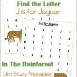 Find the Letter J is for Jaguar Worksheets