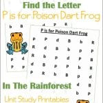 Find the Letter P is for Poison Dart Frog Worksheets