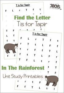 Find the Letter T is for Tapir Worksheets