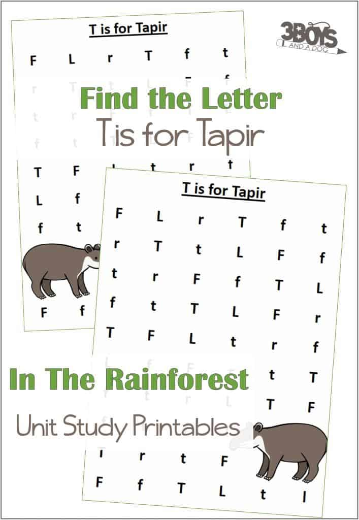 Find The Letter T Is For Tapir Worksheets Rainforest Animals 3