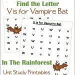 Find the Letter V is for Vampire Bat Worksheets
