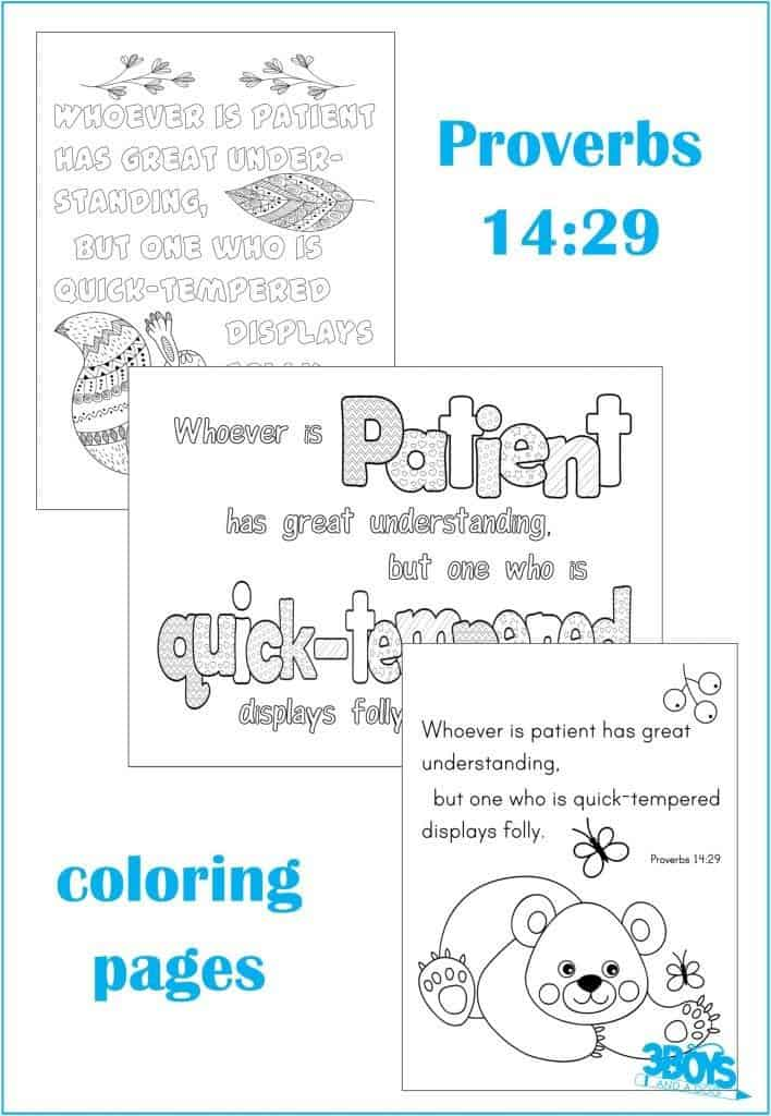 Proverbs 14.29 Coloring Page