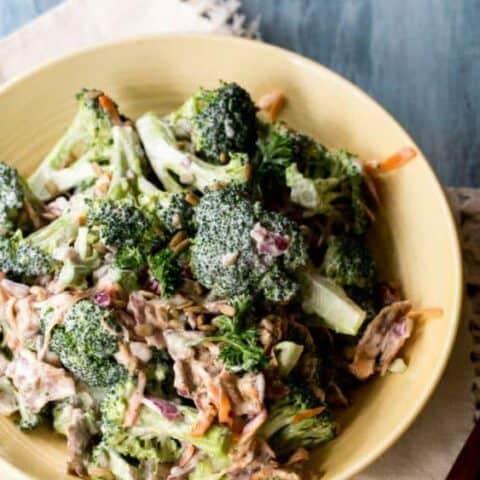 cool summer salad of bacon and broccoli