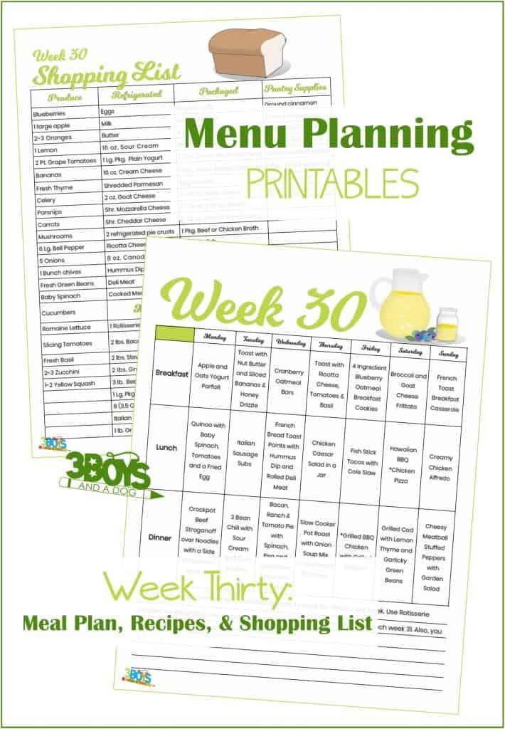 Week Thirty Menu Plan Recipes and Shopping List
