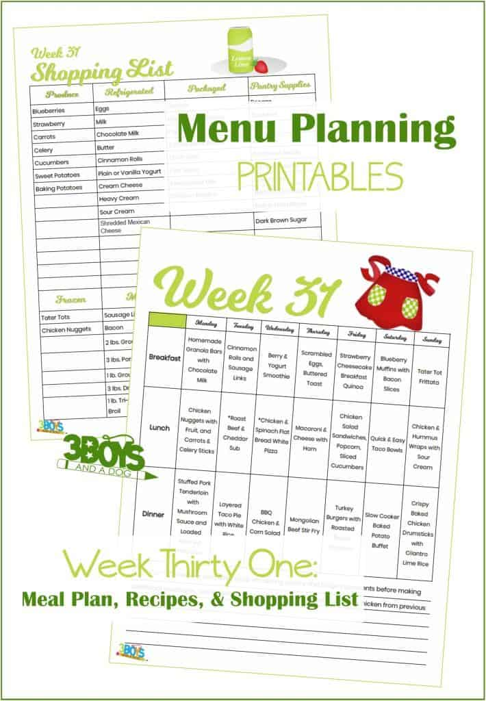 Week Thirty One Menu Plan Recipes and Shopping List