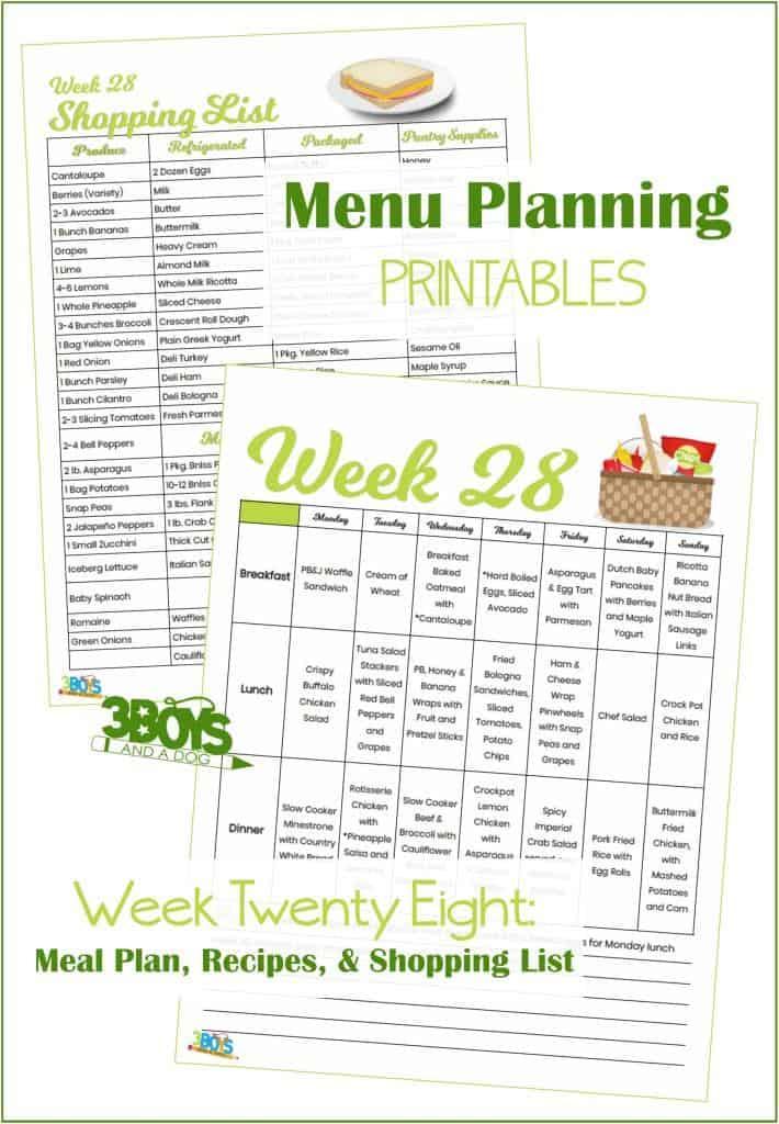 Week Twenty Eight Menu Plan Recipes and Shopping List