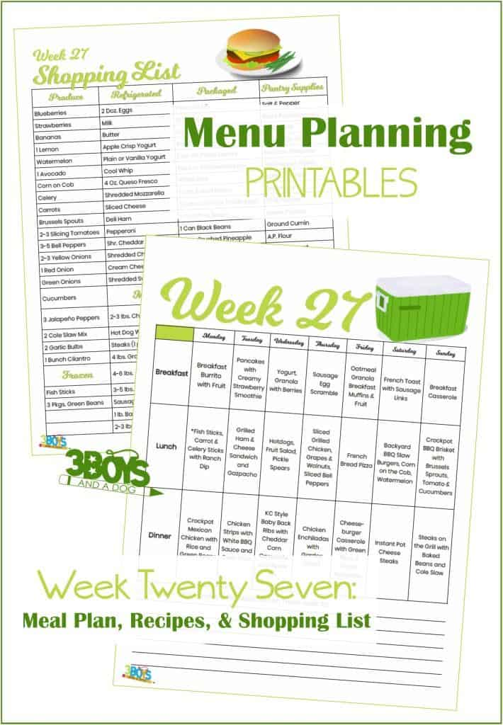 Week Twenty Seven Menu Plan Recipes and Shopping List