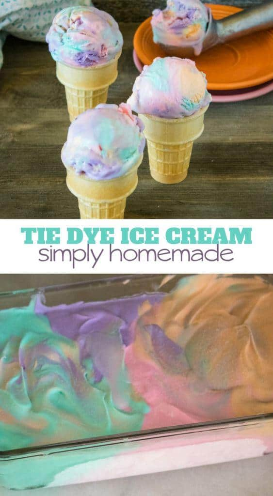Tie Dye Ice Cream with only four ingredients