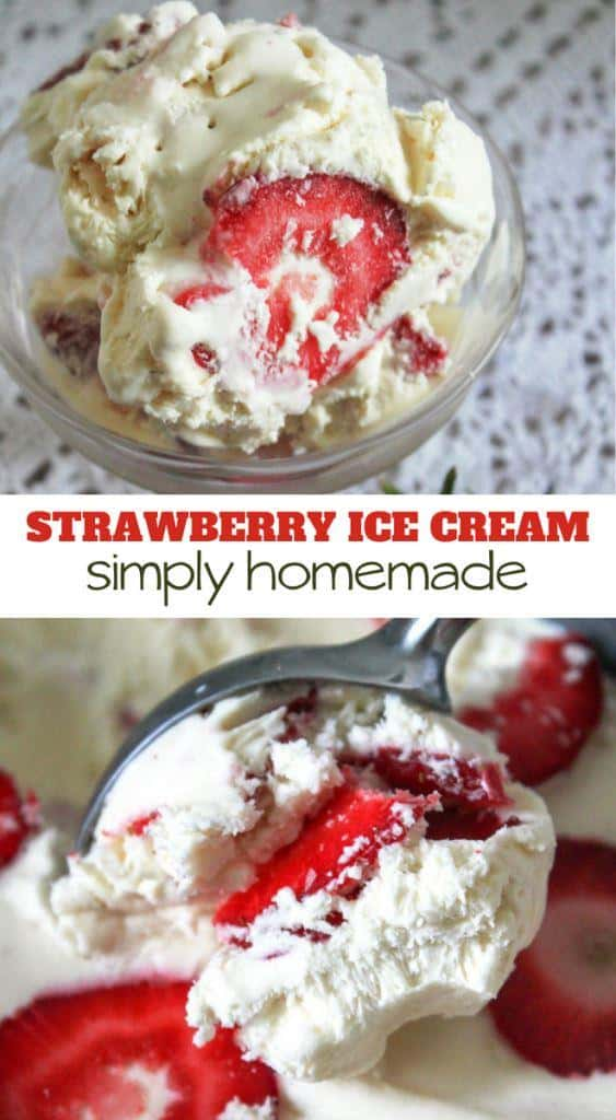You don't have to churn for hours to get this Strawberry Homemade Ice Cream!  This freezer-made, no churn Strawberry Homemade Ice Cream recipe is everything!