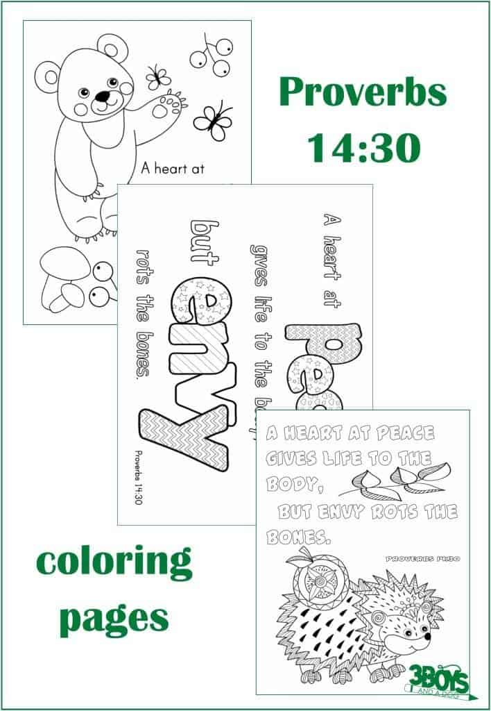 Proverbs 14.30 Coloring Page