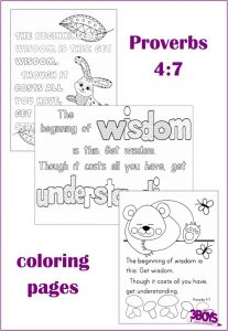 Proverbs 4:7 coloring page set