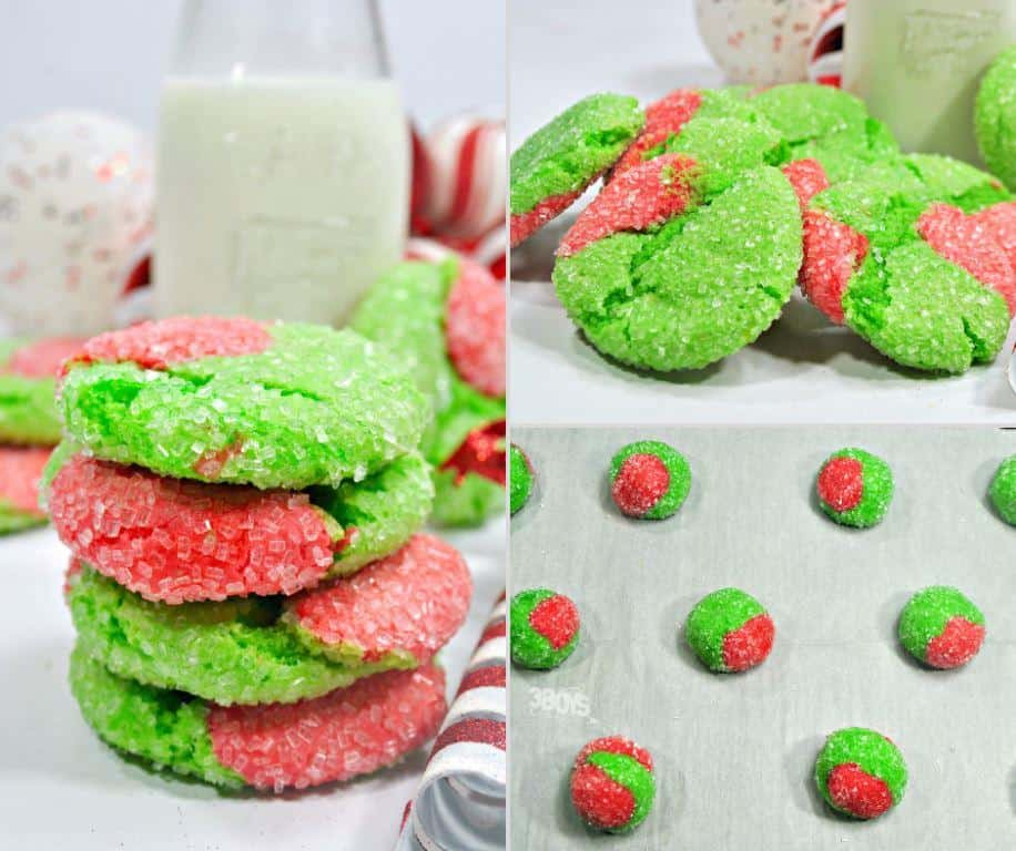 Grinch crinkle cookies made from a boxed cake mix