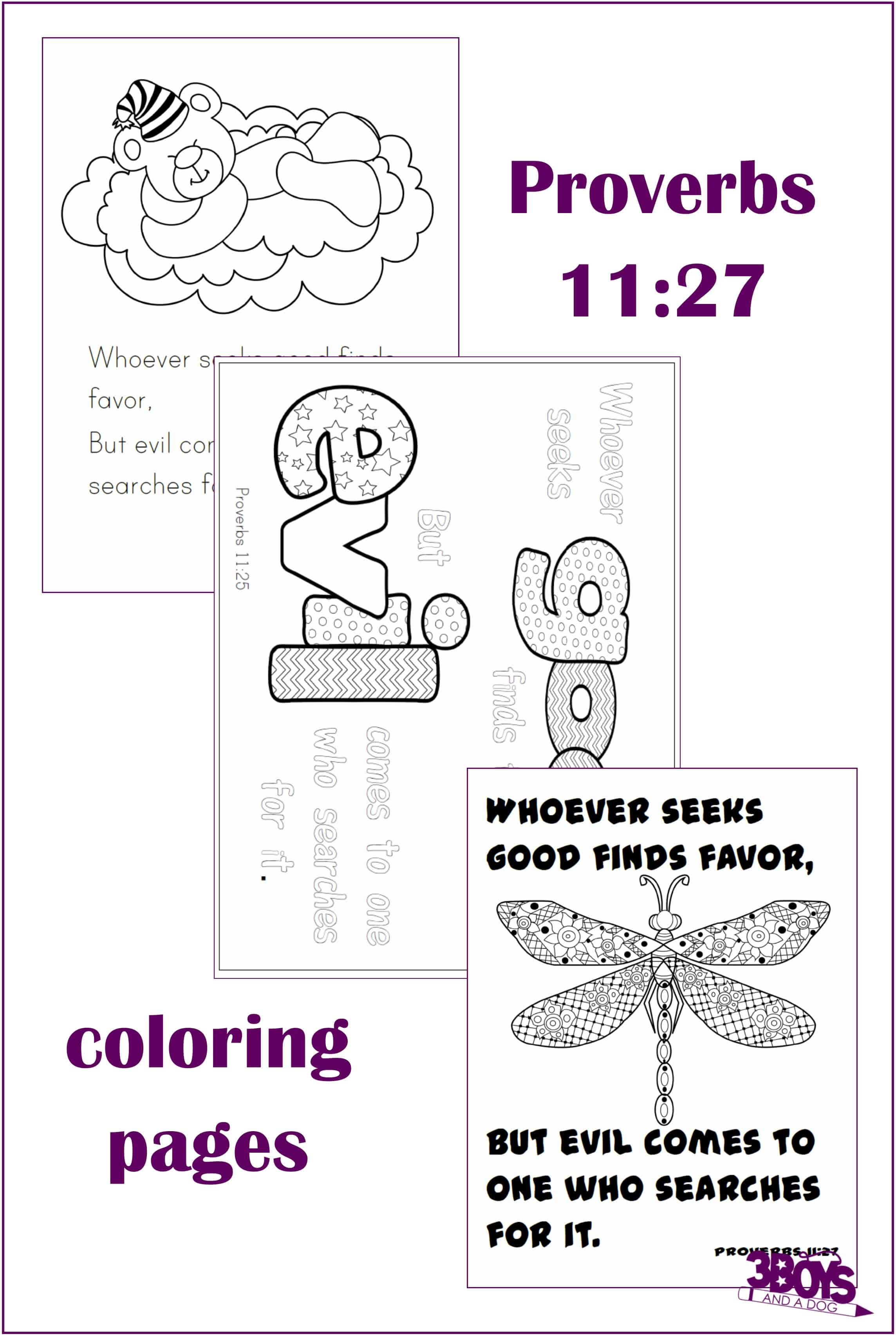 Proverbs 11:27 Coloring Pages