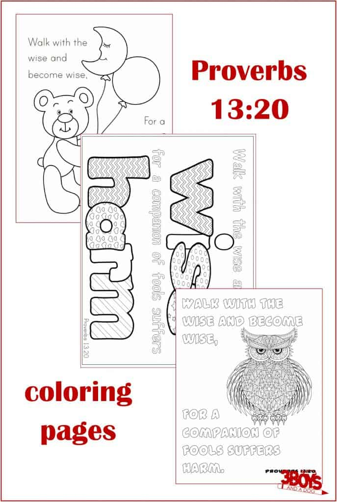 """Have you ever heard the saying, """"you are who you hang out with""""? These Proverbs 13:20 Coloring Pages help reinforce good character virtues. #proverbsforstudents #freecoloringpages #printable #goodcharacter"""