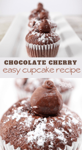 chocolate cupcakes topped with chocolate covered cherry candies