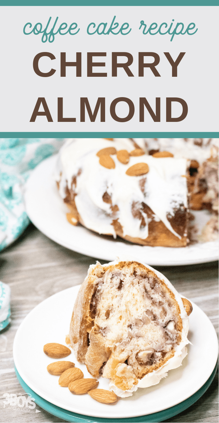 easy coffee cake recipe of cherries and almonds