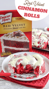 cinnamon rolls made from red velvet boxed cake mix