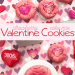 heart print Valentine's Day cookies made from boxed strawberry cake mix