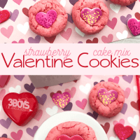 Strawberry Cake Mix Cookies w/ Candy Hearts