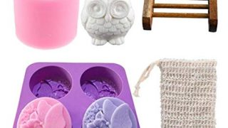 Xiangfeng 2 Pack Silicone 4 Cavities Soap Mold Owl Handmade DIY Soap Molds Baking Mold Bee Wax Candles Mold with 2 Pack Soap Holder Bag