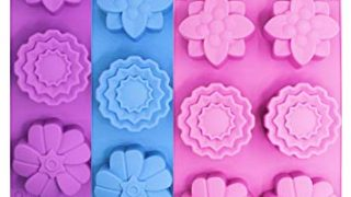 3 Pieces Silicone Flower Cake Molds, SENHAI 6-Cavity Muffin Jelly Tart Bread Dessert Baking Pans, Chocolate Soap Making Trays - Pink, Blue, Purple
