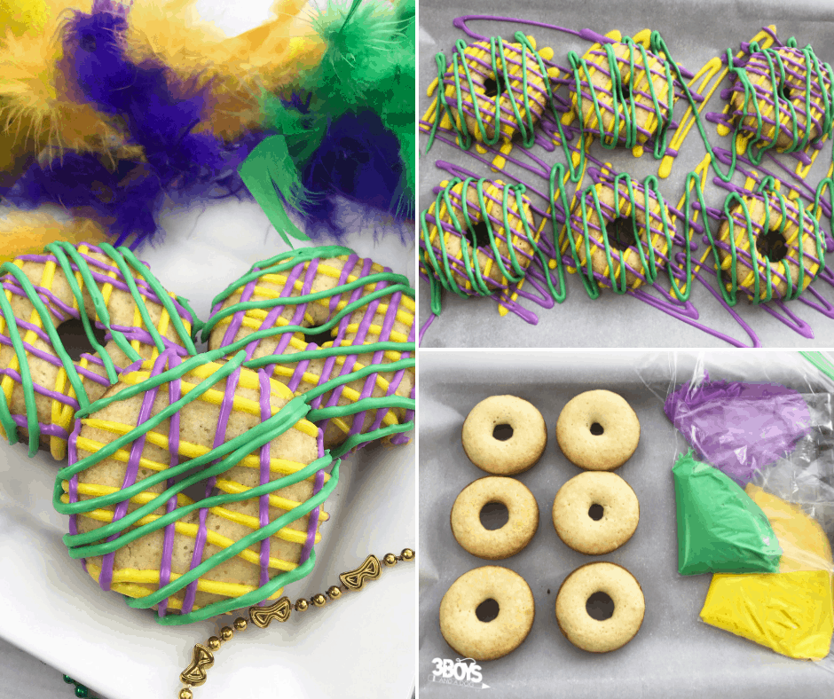 Make your own Mardi Gras donuts from cake mix