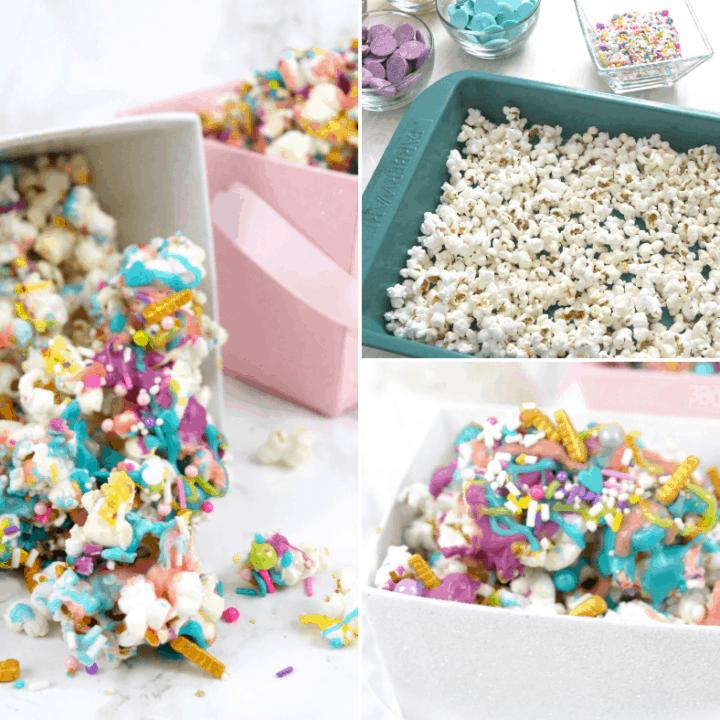 pink purple teal unicorn popcorn snack recipe